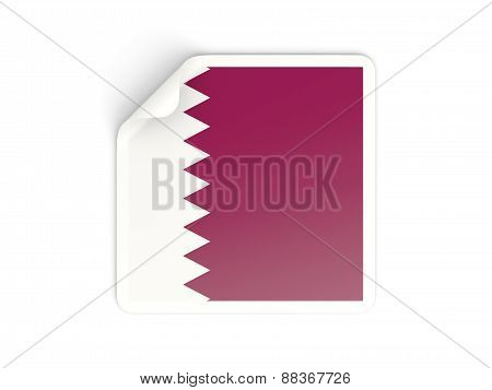 Square Sticker With Flag Of Qatar