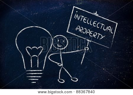Funny Copyright Owner Man With His Idea, Concept Of Intellectual Property