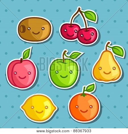 Set of cute kawaii smiling fruits stickers