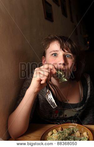 Teen Eating Salad