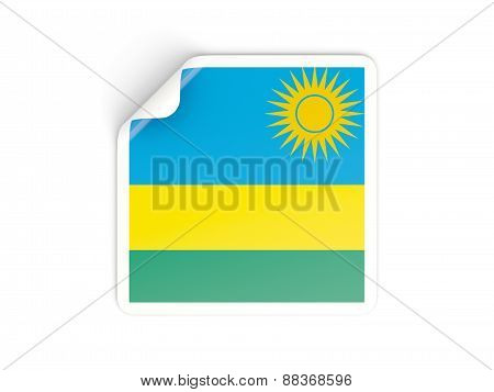 Square Sticker With Flag Of Rwanda