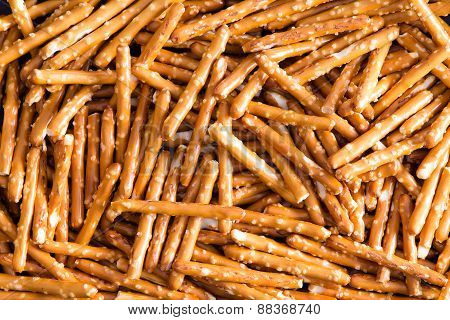 Plenty Salted Baked Pretzel Sticks For Backgrounds