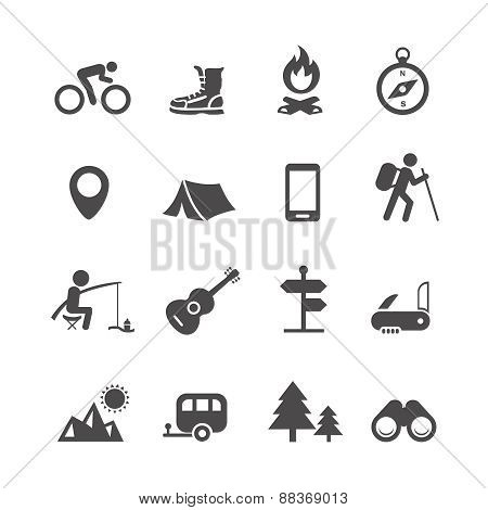 Vector icons forest camping set with compass guitar tent fisherman bonfire knife trailer
