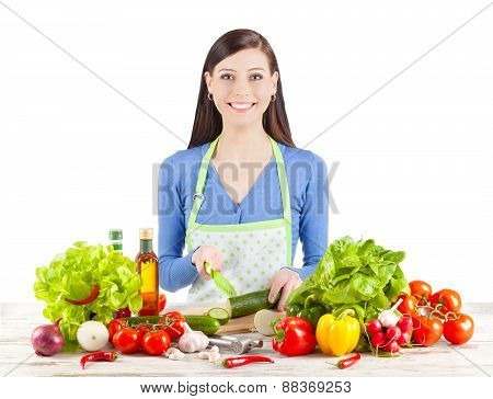 Young Happy Woman Preparing Salad