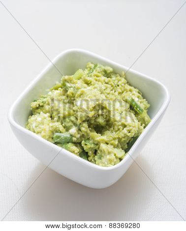 Guacamole Appetizer Healthy Snack top view on white background