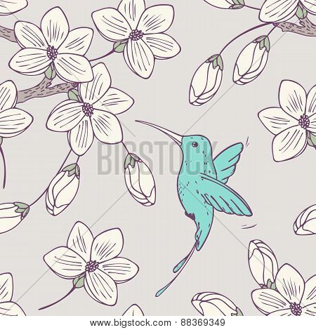 Hand Drawn Seamless Pattern With Colibri Bird And Flowers