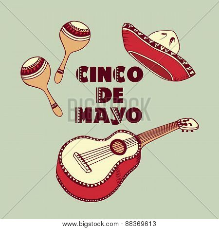 Cinco De Mayo Background. Sombrero, Guitar, Maracas Vector Elements