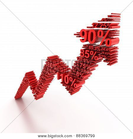 3d rising arrow formed by numbers