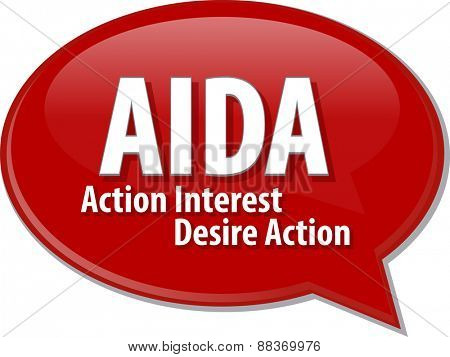 word speech bubble illustration of business acronym term AIDA Action Interst Desire Action