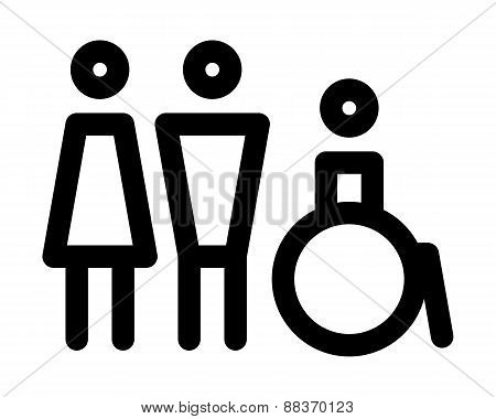 Man, Women And Disabled Sign