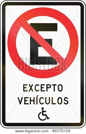 No Parking Except Disabled In Chile