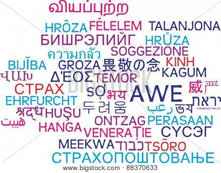 Background concept wordcloud multilanguage international many language illustration of awe