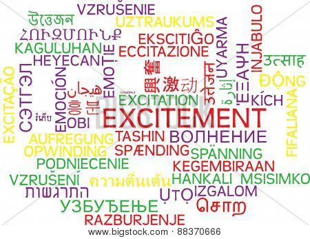 Background concept wordcloud multilanguage international many language illustration of excitement