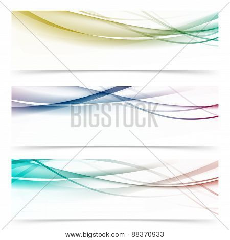 Speed Abstract Swoosh Wave Contemporary Header Set