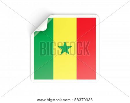 Square Sticker With Flag Of Senegal