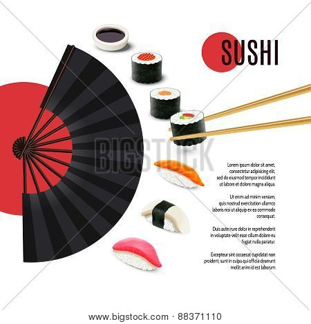 Sushi Poster With Folding Fan