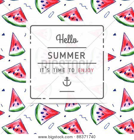 Watermelon Pattern With 'hello Summer' Label