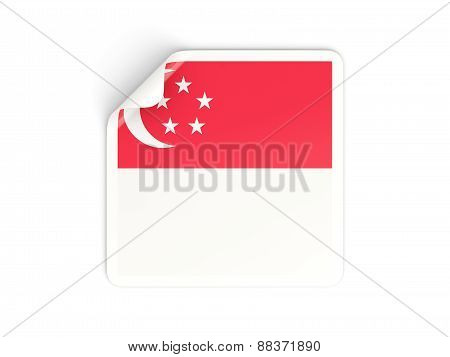Square Sticker With Flag Of Singapore