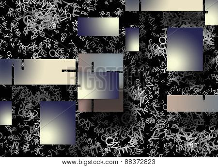 Abstract of rectangular shapes and letters