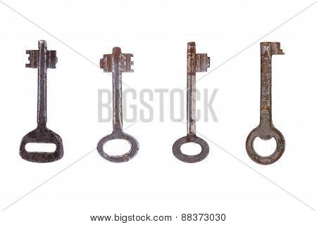 4 Old Key On White Background