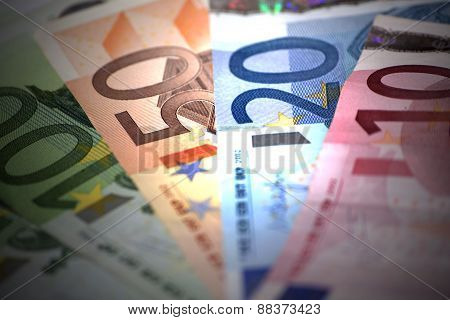 Closeup Of European Banknotes