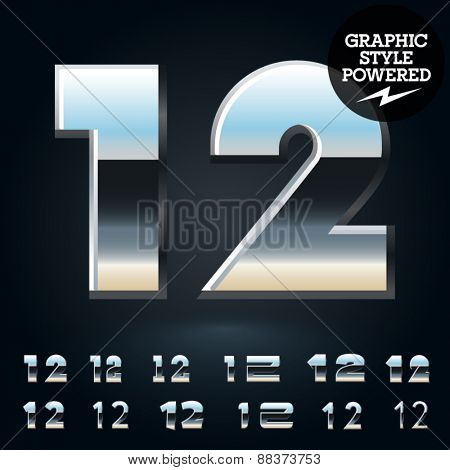 Vector set of glossy and shiny metal steel font. Numbers 1 2