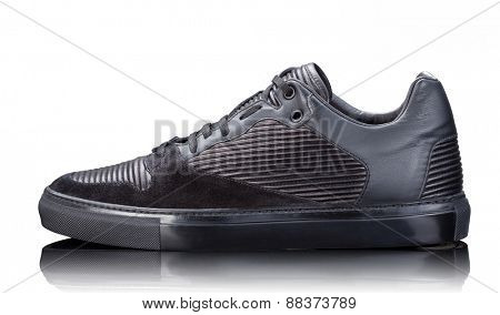 black male leather sneakers isolated on white background