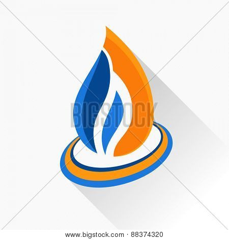 logo symbol fire. Orange and dark blue flame glass icon with long shadow isolated