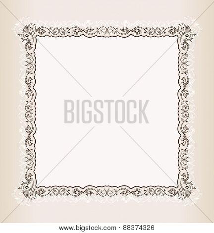 vintage Square frame retro pattern ornament white