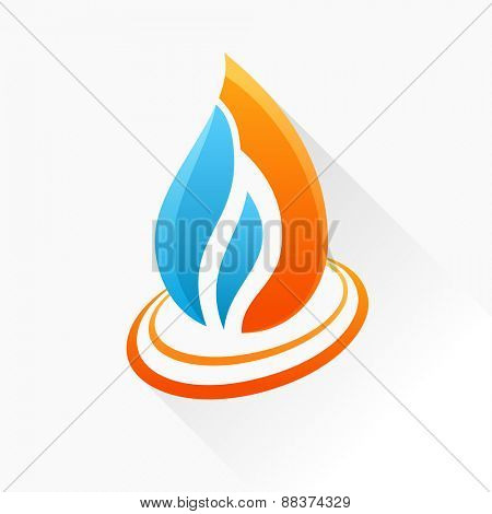 emblem symbol fire. Orange and blue flame glass icon with long shadow isolated