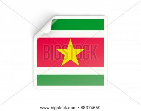Square Sticker With Flag Of Suriname