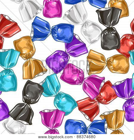 Candy seamless vector pattern. Sweet illustration.