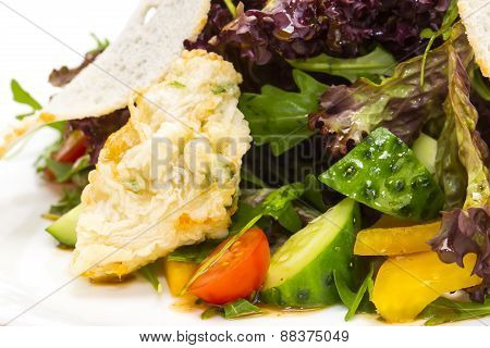 vegetable salad and cheese