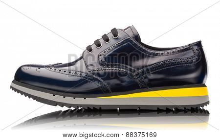 blue male leather sneakers isolated on white background