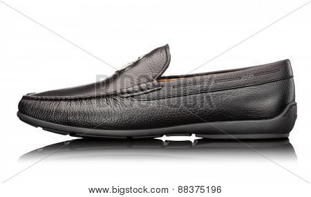 male black leather moccasin isolated on white background