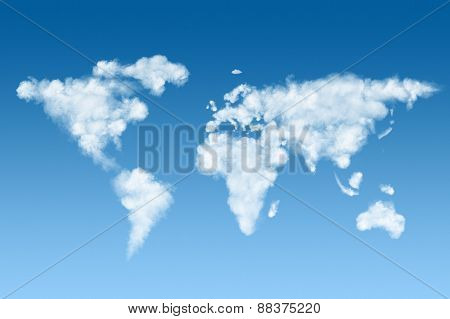 world map made of white puffy clouds on blue sky