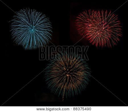 Fireworks Set In Celebration Night