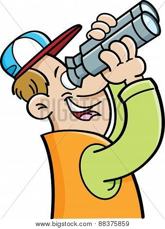 Cartoon man looking through binoculars.