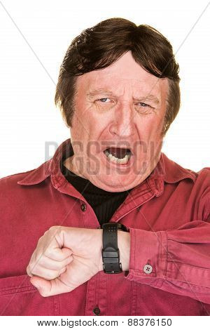 Yawning Man Looking At Watch