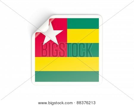 Square Sticker With Flag Of Togo