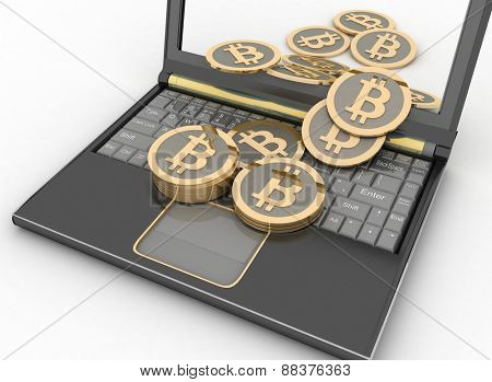 Bitcoins with laptop computer. 3d illustration on white background