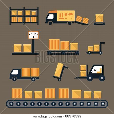 Transportation, shipping and delivery icons.