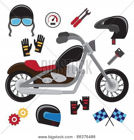 Motorcycle set. Vector