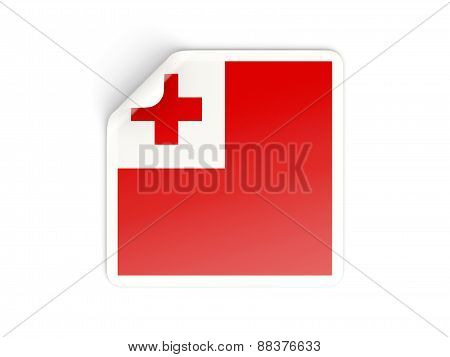 Square Sticker With Flag Of Tonga