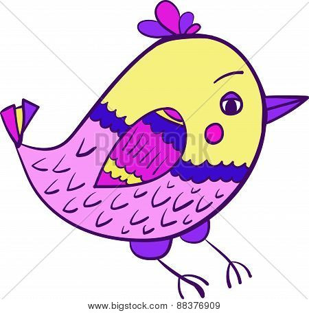 colorful bird doodle vector illustration
