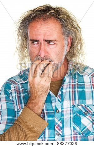 Jittery Man Biting Nails