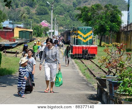 Passengers At Quy Nhon Railway Station