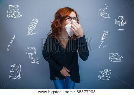 woman is sick with influenza runny nose sneezing handkerchief in