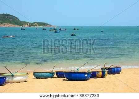 Tribal Boats On Beautiful Beach