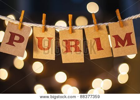 Purim Concept Clipped Cards And Lights